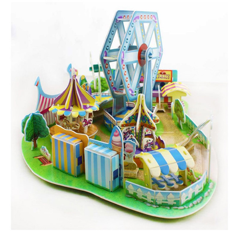 Disney 3D scene ice snow palace toy puzzle 3D scene Mickey windmill Ferris wheel children's educational toys New Year gift