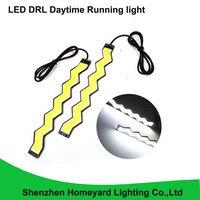 2016 nova 2 pcs onda estilo à prova d' água cob led drl daytime running luz 12 V DC pode dobrar 20 cm cor branca pode dobrar para carro