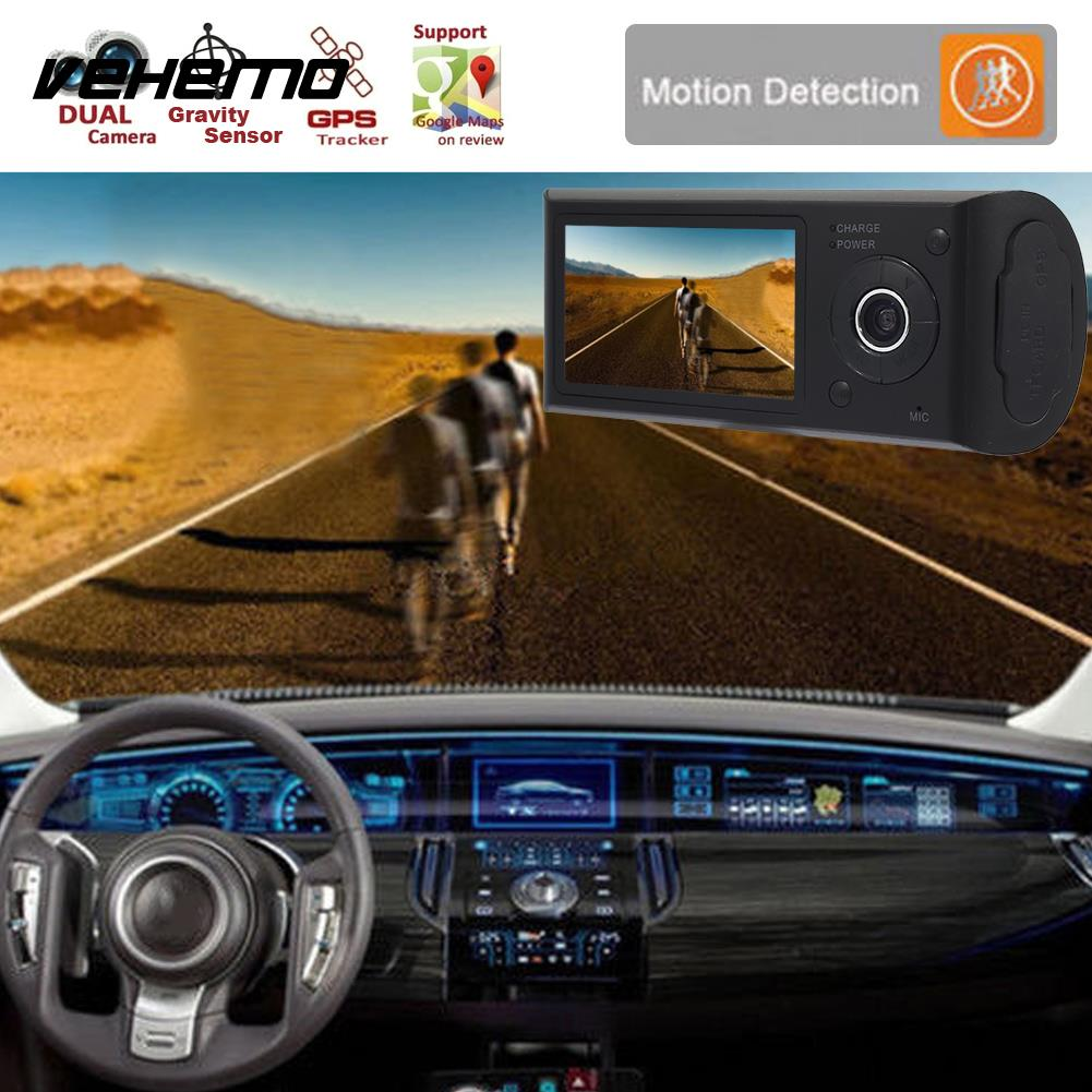 Vehemo 2.7nches HD1080P GPS Car DVR G-Gensor Dash Cam Driving Recorder Motion Detection Dual Lens