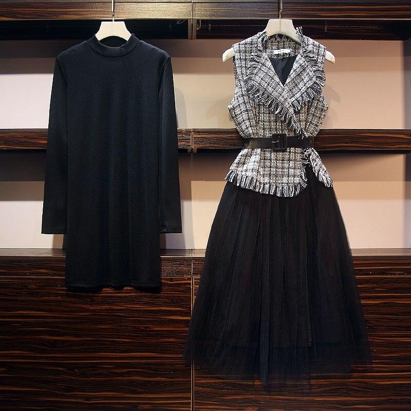 2019 grande taille automne hiver robe costume nouvelle robe élégante ensembles mince robe à la mode 2 pièces ensembles