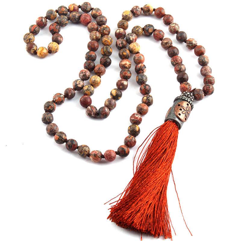 אופנה בוהמי שבטי תכשיטי נמר עור אבן מסוקס וציצית אופנה שרשראות צמיד סט לנשים אתני שרשרת