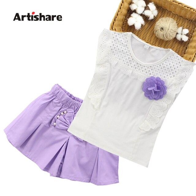 Летние комплекты для девочек топ с кружевом + шорты из 2 предметов комплекты детской одежды Одежда для девочек-подростков 10 12 14 лет Костюмы