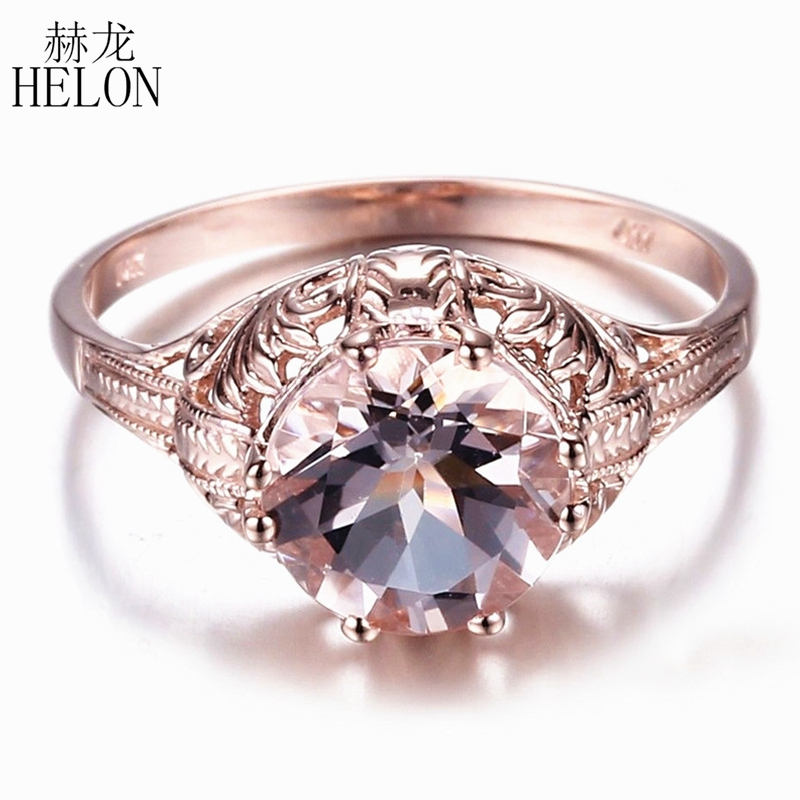 HELON Solid 14K Rose Gold Certified Round 8mm Genuine Morganite Engagement Ring Women Wedding Vintage Style Trendy Fine JewelryHELON Solid 14K Rose Gold Certified Round 8mm Genuine Morganite Engagement Ring Women Wedding Vintage Style Trendy Fine Jewelry