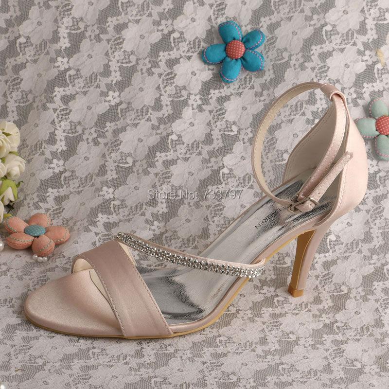 ФОТО Wedopus MW523 Custom to Make High Heeled Crystal Sandals for Wedding Party Nude Color