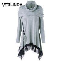 VESTLINDA Women Blouse Shirt Cowl Neck Lace Up Panel Asymmetric Long Sleeves Tunic Top Blouses Casual