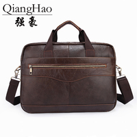 QiangHao Genuine Leather Men Bags Business Laptop Male Bags Men S Briefcase Casual Tote Shoulder