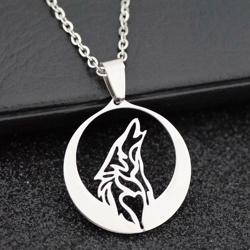 DICAYLUN Stainless Steel Howling Wolf Necklace Men Chain Jewelry Animal Pendant Wolf Totem And Full Moon Hollow Pendant Charm