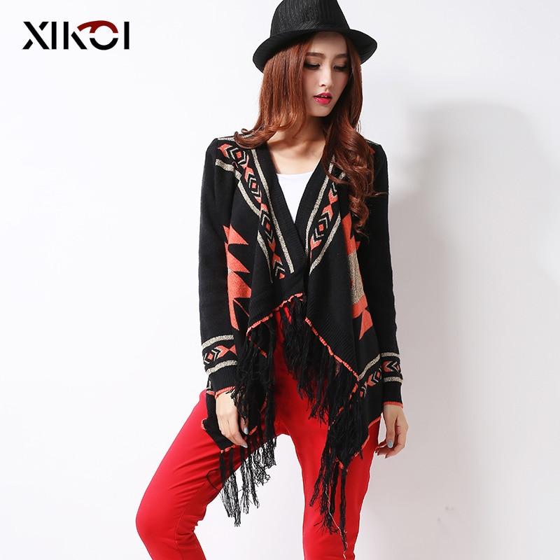 XIKOI Tassel Women 's Cardigans 기모노 블랙 스웨터 패션 - 여성 의류