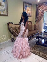 Ever Pretty Pink Mermaid Black Girl Evening Dresses 2017 Beading Sequined Feathered Robe De Soiree Long