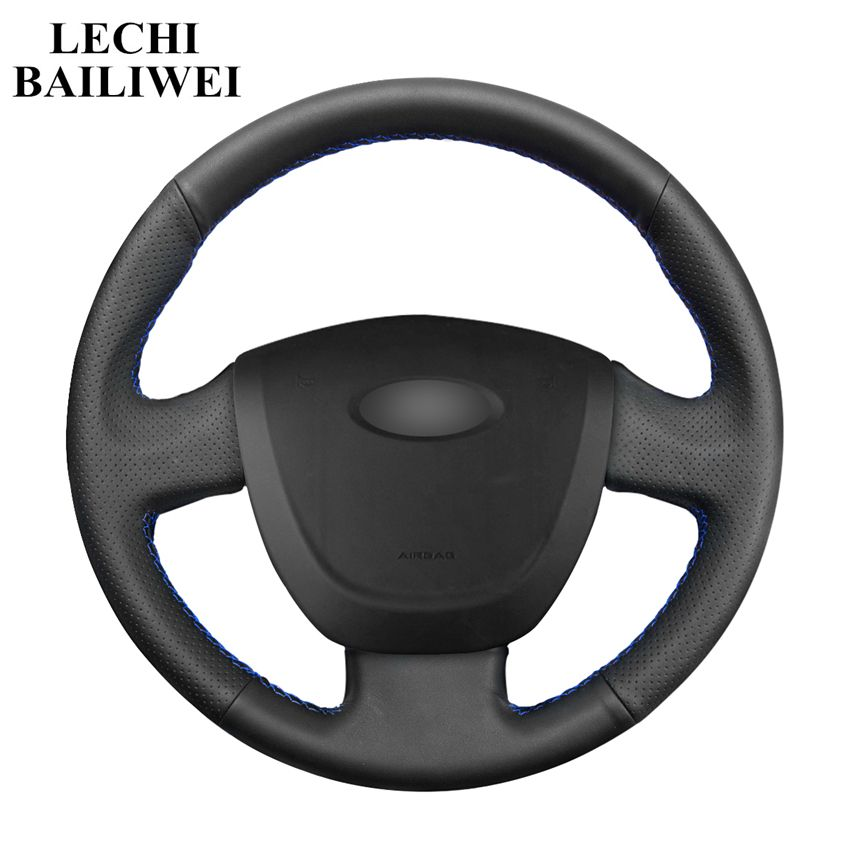 DIY Hand-stitched Steering Wheel Cover Black Artificial Leather Car Steering Wheel Covers for Lada Granta 2011-2016(China)