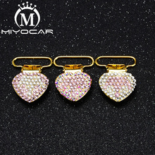 MIYOCAR 10pcs/lot special design bling crown heart shape gold pacifier clip  holder good quality SP023