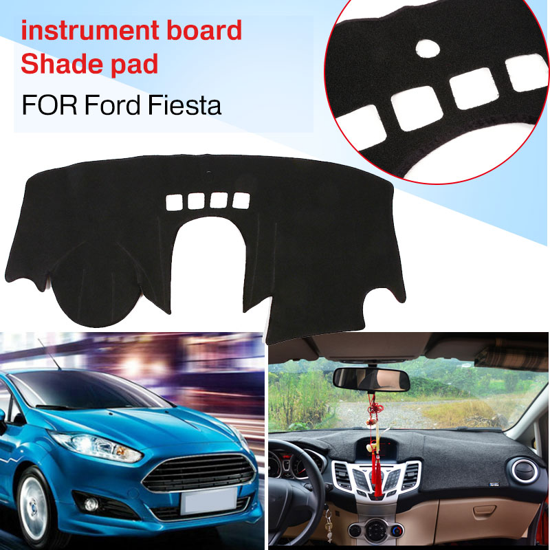 Крышка приборной панели силиконовый черный коврик для приборной панели авто Интерьер Солнцезащитная Накладка для машины колодки Оттенки для Ford Fiesta все Vintage