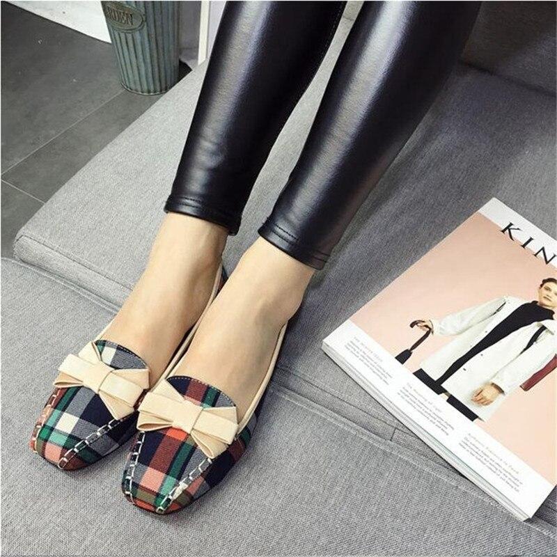 Mode Beyarne Nouveau Beige Slip Tissu Femmes Printemps 2018 Casual rouge Appartements bleu Coton Chaussures De Plat Square on Plaid Arc Toe qwrfY