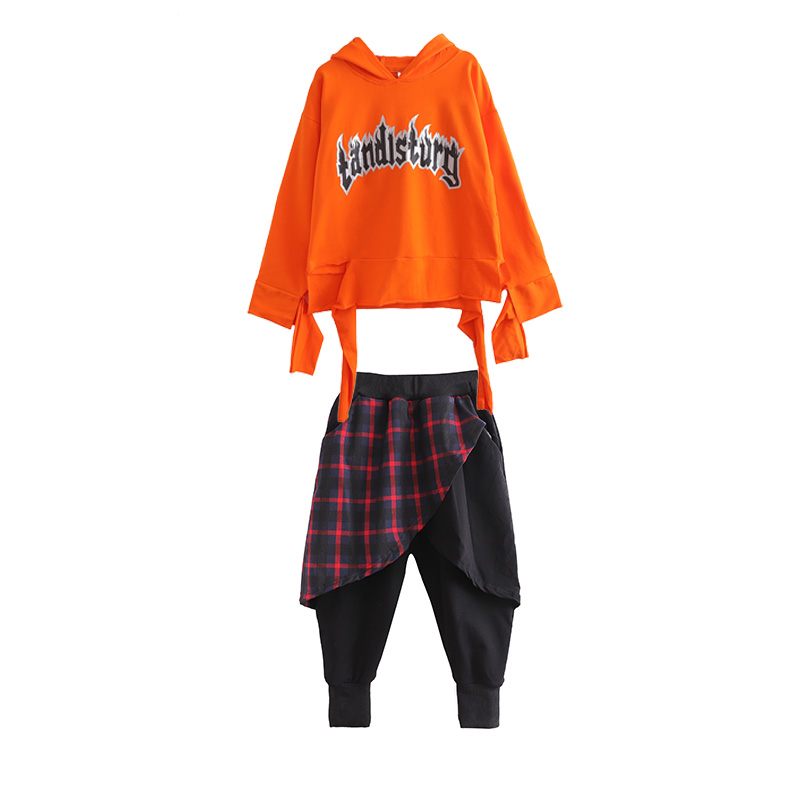db04f68c8 Hip Hop Set Childrens Dance Costumes Kids Jazz Street Dancing Clothes Long  Sleeve Orange Hooded Top Harlan Pants Suit DNV10616-in Ballroom from  Novelty ...