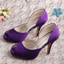 Wedopus MW336 Дамы Атласная Высоких Каблуках Фиолетовый Невесты Обувь с Открытым Носком