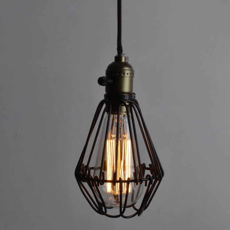 FRLED Fashion Vintage Wire Lamp Cage DIY Lampshade Industrial Lamp Guard Cage Lamp Shade Guard Classic Black Nordic Bulb Cover