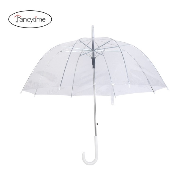Fancytime Transparent Long-handle Rain Umbrella Ultra Light Women Kids Parasol Rain Umbrella Semi-automatic Female Umbrellas