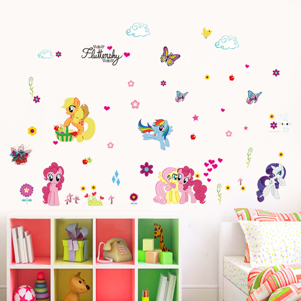 Wall stickers decoration for kids - My Little Pony Cute Baby Wall Sticker Removable Decoration Kids Bedroom Decal Home Decor Stickers In Wall Stickers From Home Garden On Aliexpress Com