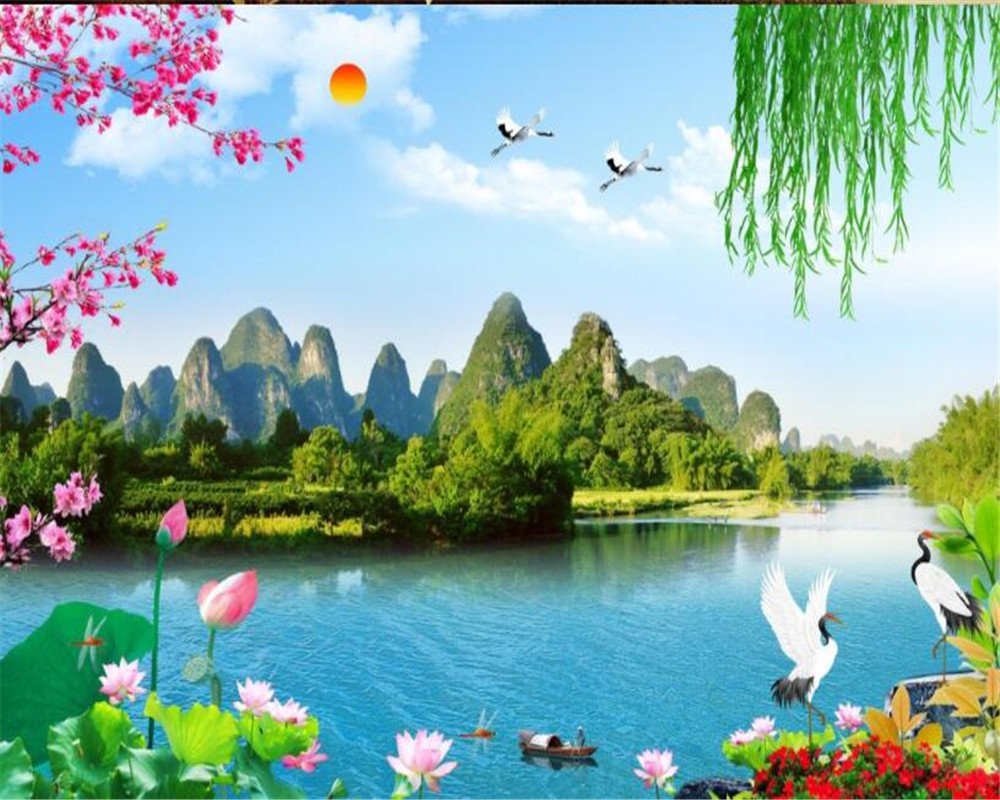 US $8 85 OFF Wallpaper Nature Landscape Beautiful Mountain Lotus Egret Tv Wall Background Wallpaper For Living Room Carta Da Parati