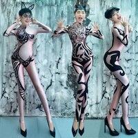 Jazz Bar Ds Costumes Women New Sexy Black Print Jumpsuit Nightclub Gogo Female Singer Dance Costume Show Rave Clothing DNV10031
