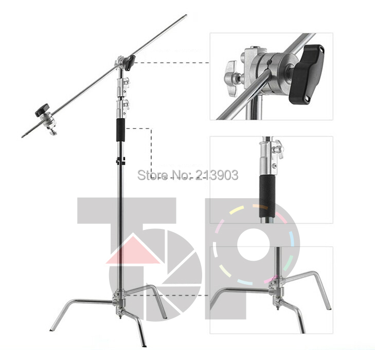 9.8 Feet Centry C Stands Detachable light C-stands + Gobo Arms+ Gobo Heads came pro heavy duty studio centry c stand detachable light c stand gobo arm line resizer for flash strobe flag reflector