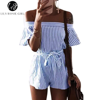 Lily Rosie Girl Women 2017 Off The Shoulder Sashes Plaid Playsuits Casual Loose Broadcloth Combinaison Femme