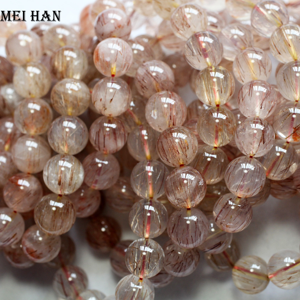 Image 2 - Meihan Natural one way rutile quartz 13 13.5mm (30beads/lot/95g) for Jewelry diy making  women bracelet men bracelet-in Beads from Jewelry & Accessories