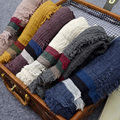 New Design Cotton Linen Wrinkle Scarf For Women Muslim Big Size Hijab Fold Striped Long Tassel Shawl Wrap