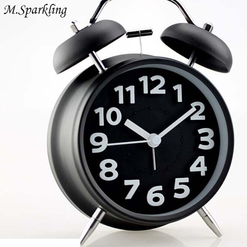 M.Sparkling Alarm Clock Mute Double Bell Night Light Metal Desk Clock Students Wateches Brithday Gift Christmas Belling Clocks