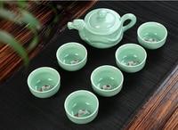 2019 Longfeng Chengxiang celadon Kung Fu tea, a pot of six cups of celadon tea, creative gifts ceramic tea set