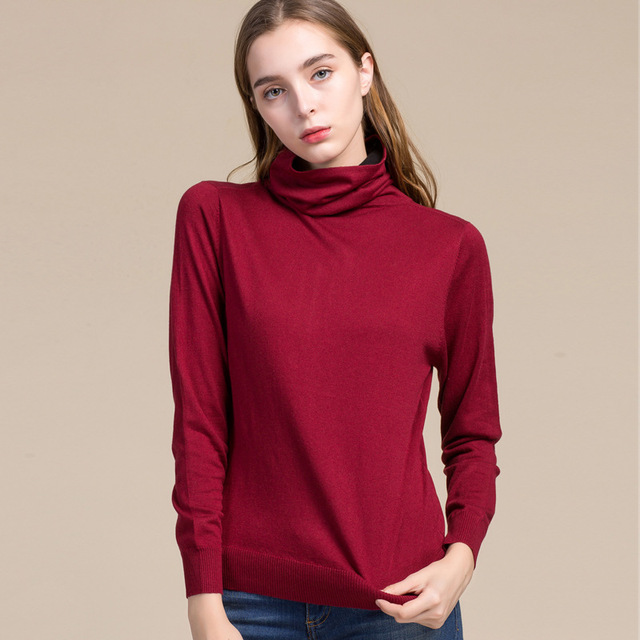 Women Real Silk Sweater Full Pullovers Turtleneck Sweet Cashmere Sweater Comfortable Soft Female Sweaters 7056
