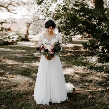 Long Sleeves Lace Bride Dresses 2019 Chiffon Simple Sweep-floor A-line New Arrival Bridal Gown V-back vestido de noiva sereia фото