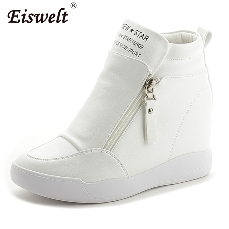 EISWELT 2017 Women Platform Wedge Heel Ankle Boots Women Shoes With Increased Platform Sole Girl Fashion Casual Zip Shoes#ZQS156 nayiduyun women genuine leather wedge high heel pumps platform creepers round toe slip on casual shoes boots wedge sneakers