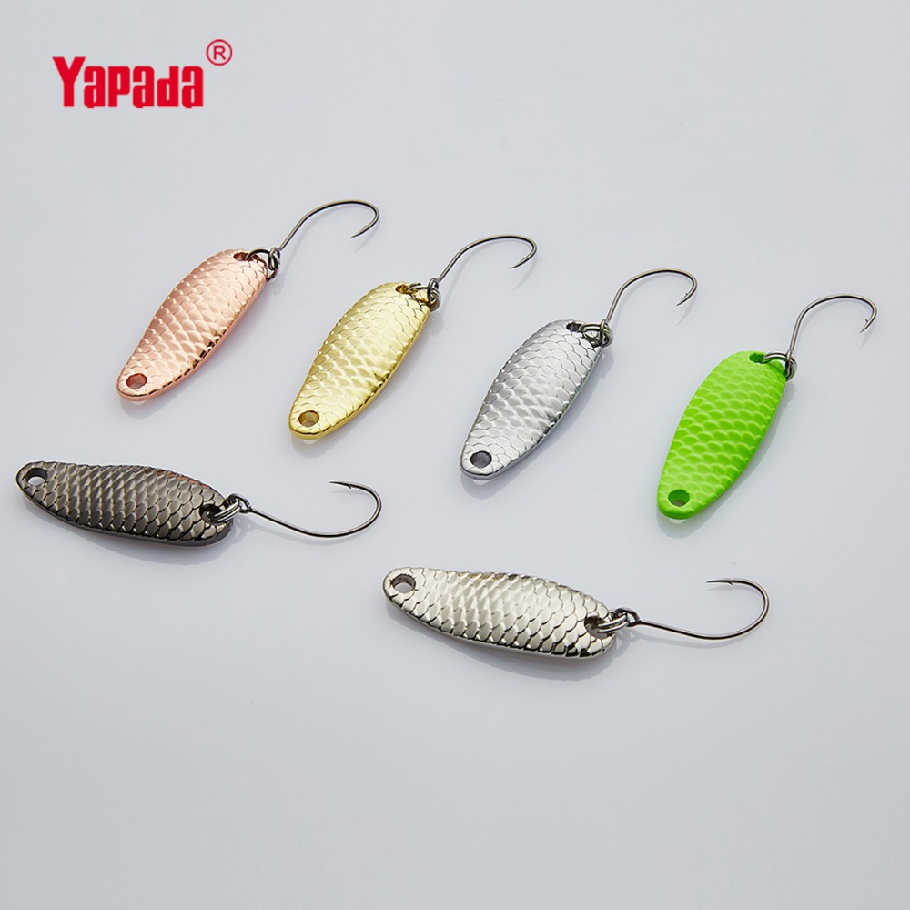 YAPADA Spoon 007 Loong Scale 1.5g/2g/2.5g 24-28mm 6piece/lot Multicolor BKK HOOK Metal Spoon Fishing Lures yapada spoon 004 leech 7 5g 10g 15g 20g bkk hook 50mm 55mm 60mm 65mm metal spoon multicolor fishing lures