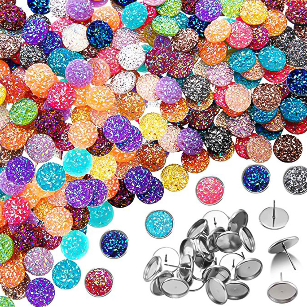 200PCs Scale Resin Flat Back Round Dome Cabochons With 20pcs Stud Earrings For Jewelry Making DIY Craft Accessories For Women