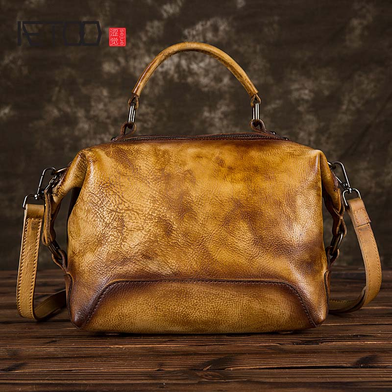 AETOO 2018 new solid hand colored handbags women vintage real leather shoulder diagonal large Large bucket