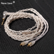 New bee Upgrade MMCX Cable for Shure SE215 SE425 SE535 SE846 Earphone Silver Plating Line Headphone Wire with Heat Shrink Tubing