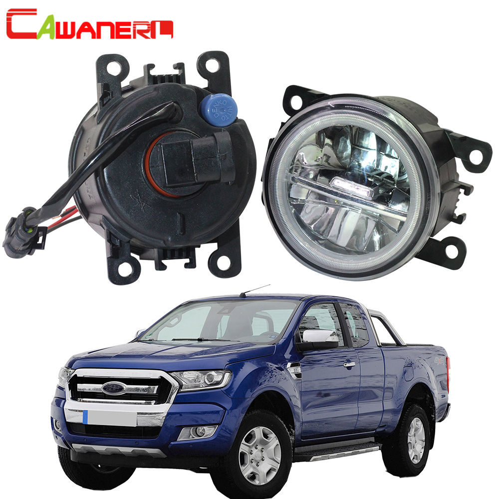 Cawanerl 2 Pieces Car Accessories 4000LM LED Lamp Fog Light Angel Eye DRL Daytime Running Light