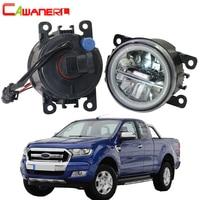 Cawanerl 2 Pieces Car Accessories 4000LM LED Lamp Fog Light + Angel Eye DRL Daytime Running Light 12V For Ford Ranger 2005 2015