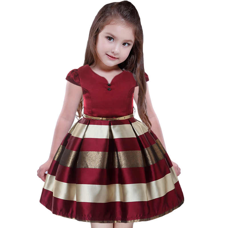 76f04819ee92a95 2018 элегантные Детские платья для девочек в полоску платье свадебные наряды  на конкурс красоты праздничное платье