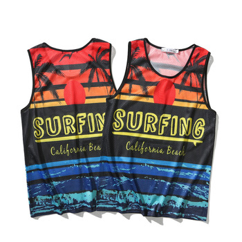 New Men Surf Tank Tops Sleeveless Shirt Summer Mesh Breathable Beach Wear Sunset Beach Printed Vest Boards Undershirt Jersey