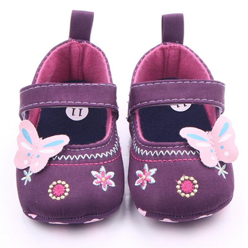 Newborn Infant Baby Girls Princess Soft Sole Prewalker Toddler Flower Shoes Butterfly Iron Baby Shoes
