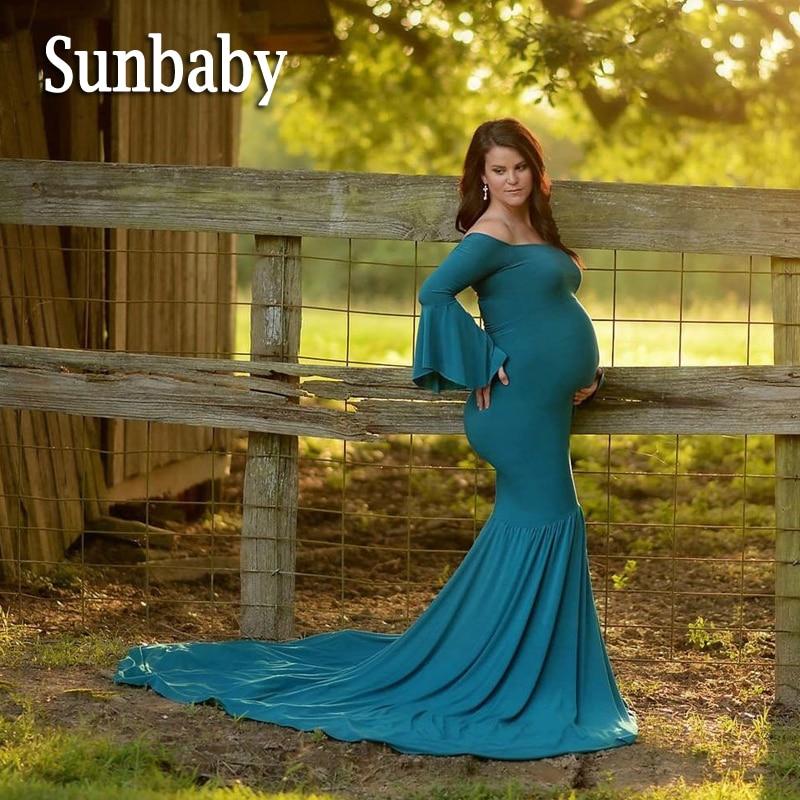 Sunbaby Elegant Fashion Ruffles Mermaid Long Bottom Shoulderless maternity dresses photography clothes for pregnant women ...