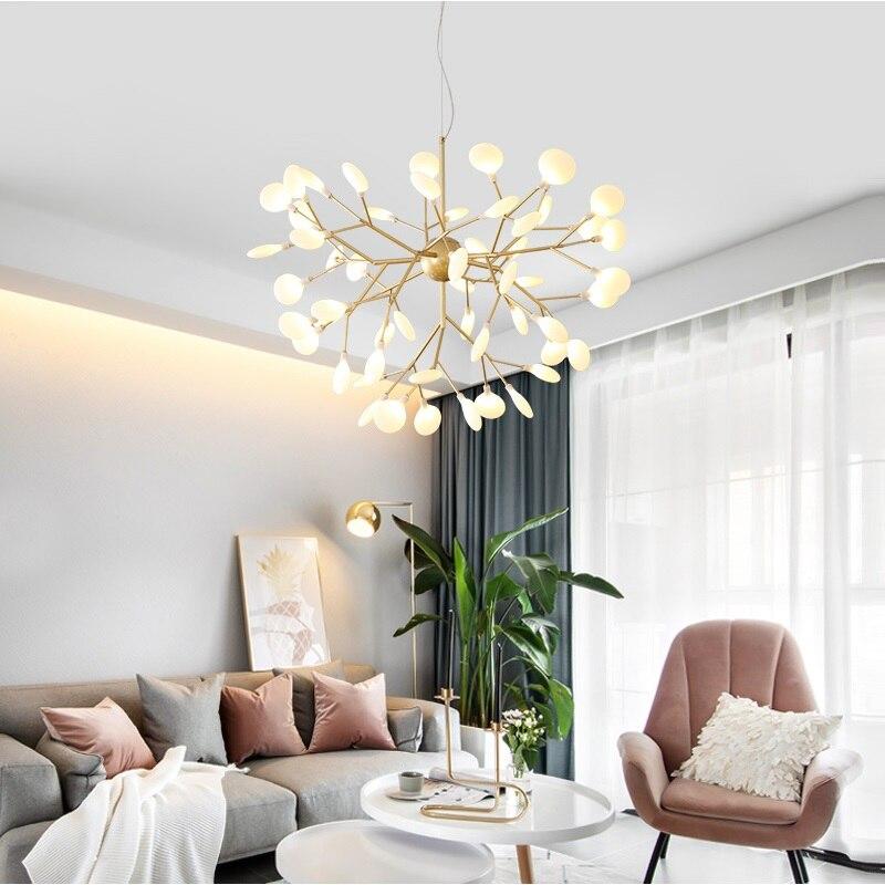 Lámpara de araña moderna luciérnaga LED con estilo lámpara de araña de rama de árbol lámparas de techo decorativas luciérnaga iluminación colgante