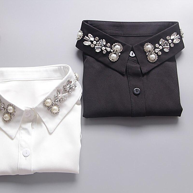 Для женщин бисером рубашка Ложные съемный воротник шифон бисером острым Поддельные Ошейники