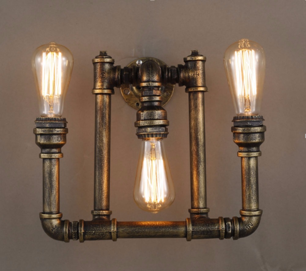 Creative industrial lamps - Loft Creative Personality Vintage Wall Lamps Industrial Water Pipe Wall Lights Restaurant Bar Wall Sconces Light