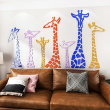 2018 new Simple creative art style giraffe 3D acrylic stickers stereo wall stickers sofa bedroom living room bedside decoration flower dance 3d acrylic wall stickers living room bedroom tv backdrop creative wall decoration hot sale