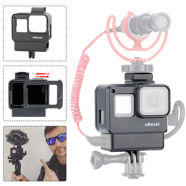 Ulanzi V2 Vlog Case Housing Shell for GoPro Hero 7, Vlogging Cage Frame Cold Shoe Mount for Microphone, GoPro 5 6 7 Accessories