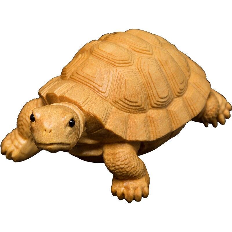 Créatif petit buis sculpture maison salon voiture décor thé Pet petite tortue sculpture artisanat pièce à main animaux ornements M1740