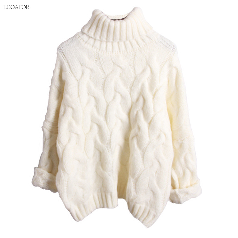 Warm Turtleneck Sweater For Women Pure Solid Color Twist Cable ...